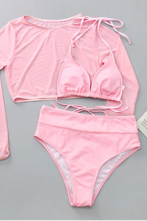 Pink Two Piece Bikini Set with Cover Top