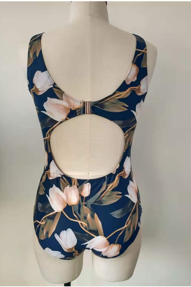 Load image into Gallery viewer, Floral Bareback One Piece Swimsuit