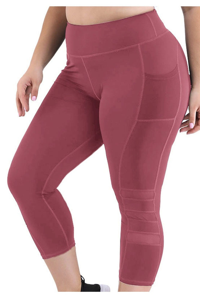 High Waist Mesh Pocket Capri Pants