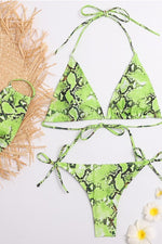 Green Python Print Bikini Set with Mask