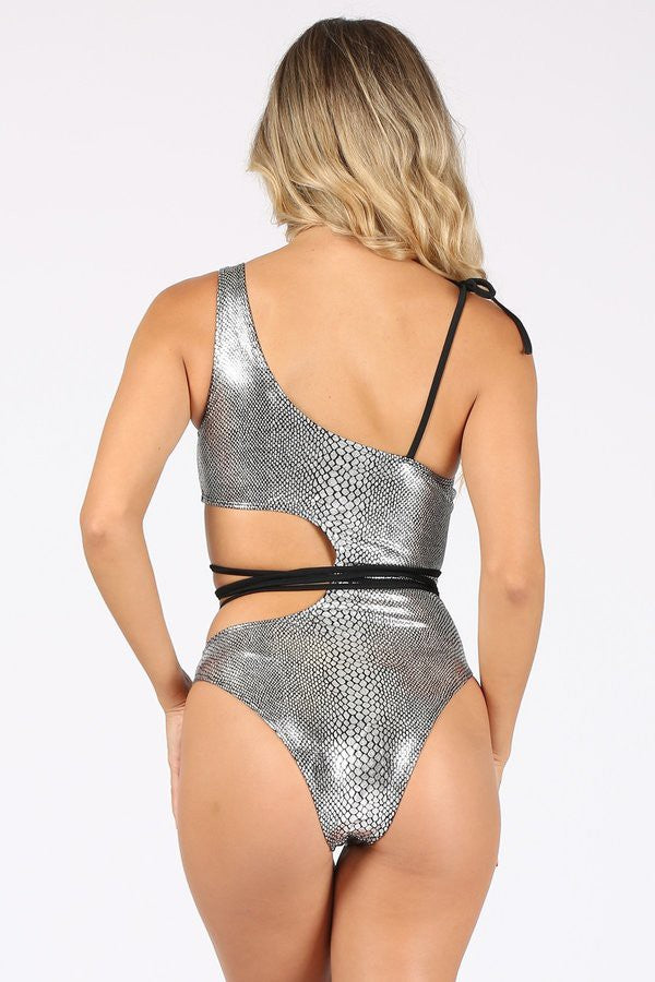 Load image into Gallery viewer, Metallic Print One Piece Swimsuit with Loop Belt