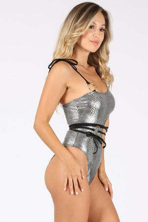 Metallic Print One Piece Swimsuit with Loop Belt