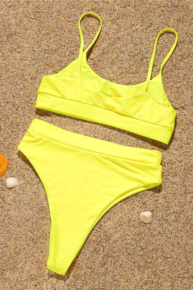 Studded Yellow High Waist Bikini Set