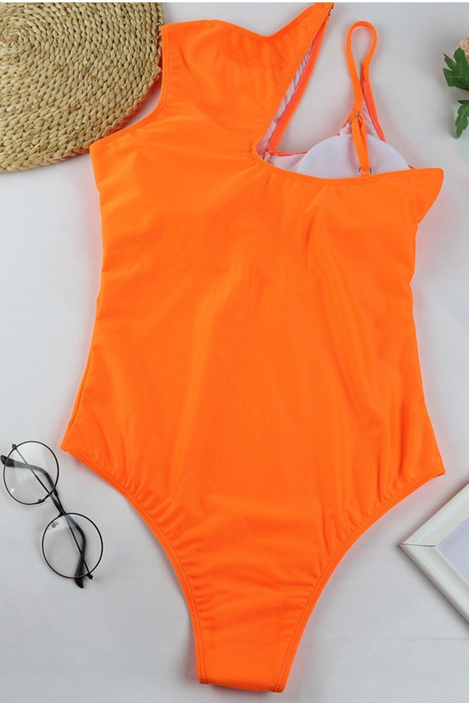 Orange Side Cut One Piece Swimsuit