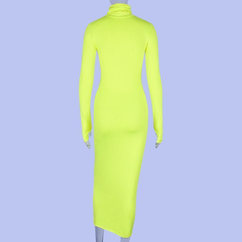 Long Sleeve Open Thump Neon Dress Green Clothing