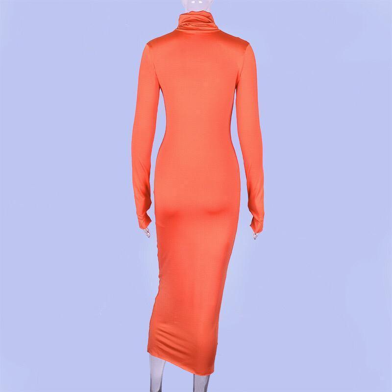Long Sleeve Open Thump Dress Orange Clothing