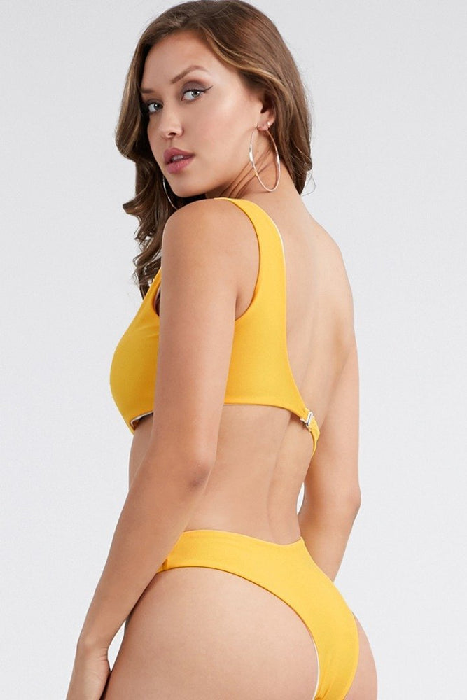 One Shoulder Side Cut Swimsuit Yellow Swimwear