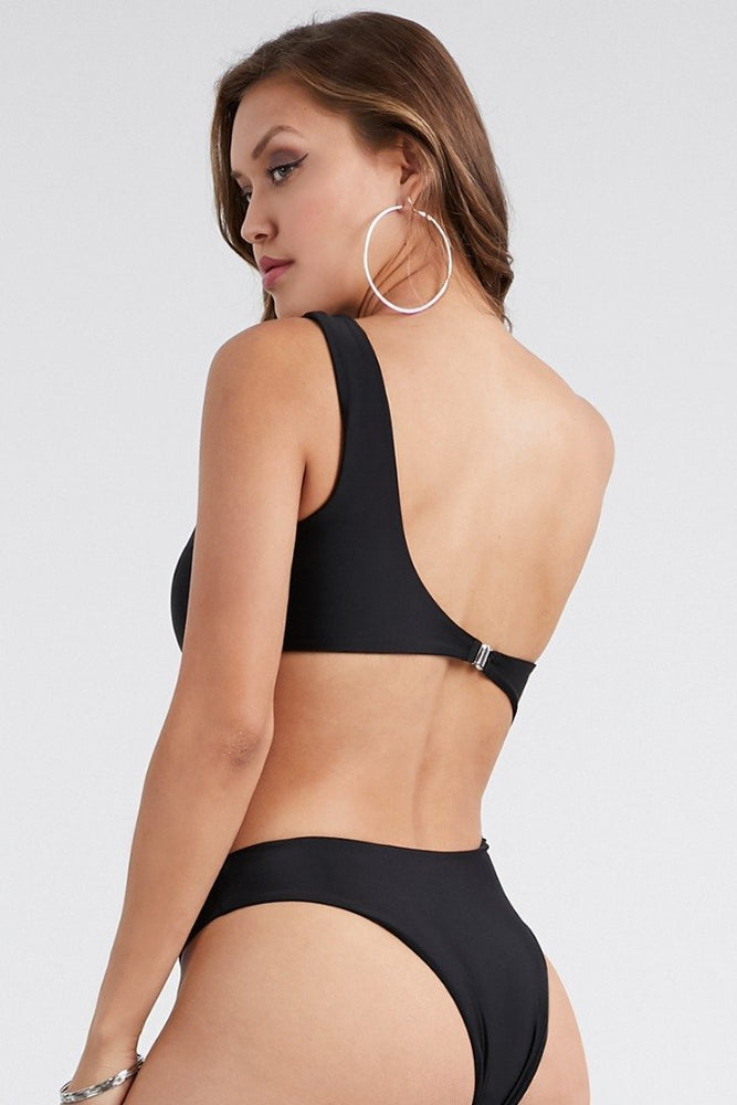 Black One Shoulder Piece Swimsuit Swimwear