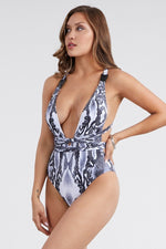 Summer Sexy Hot Style Padded Snake Deep V Strap Buckle One-Piece Bikini Wholesale Swimwear