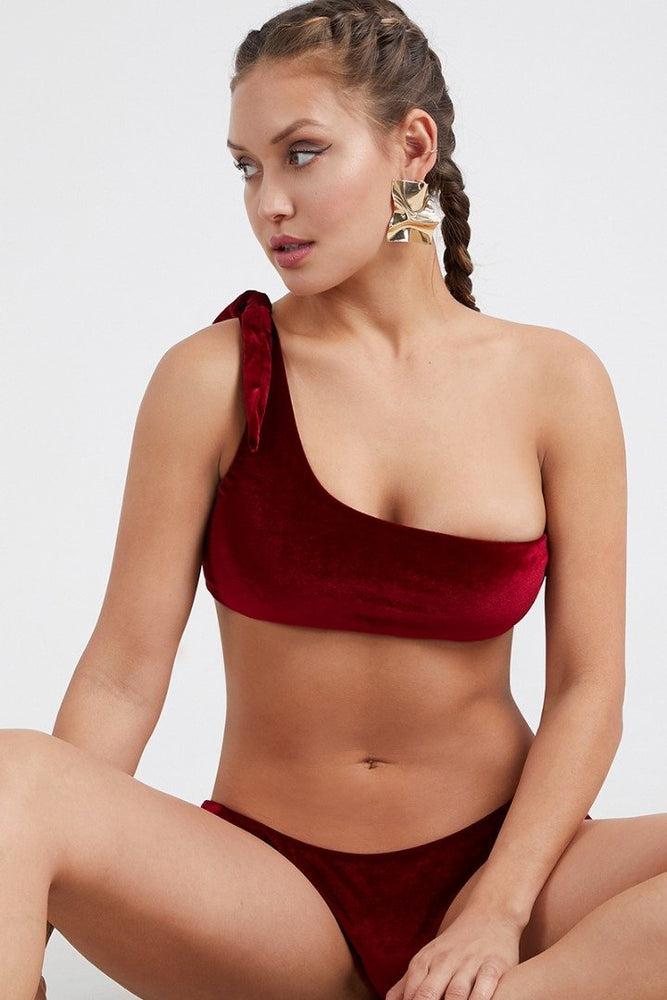 Velvet Monostrap Bikini Set Red Swimwear