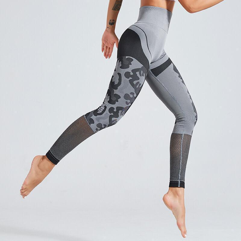 High Waist Perforated Camo Designed Yoga Pants Leggings