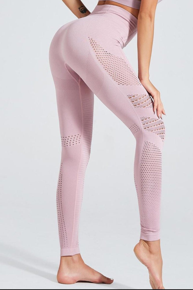Wholesale High Waist Light Pink Perforated Yoga Pants Leggings