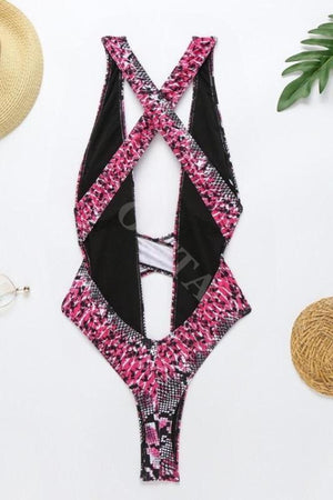 Black And Pink Snake Print One Piece Swimsuit Swimwear