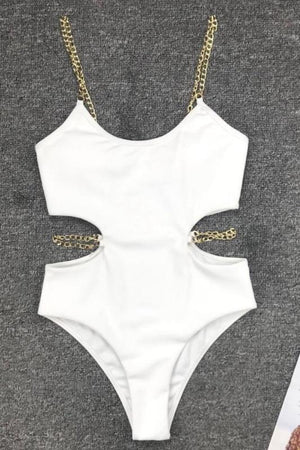 Load image into Gallery viewer, Chain Strap One Piece Swimsuit Swimwear