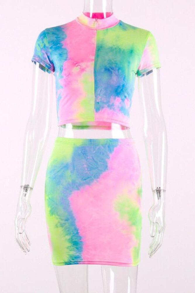 Unicorn Tie and Dye Zip Crop Top and skirt