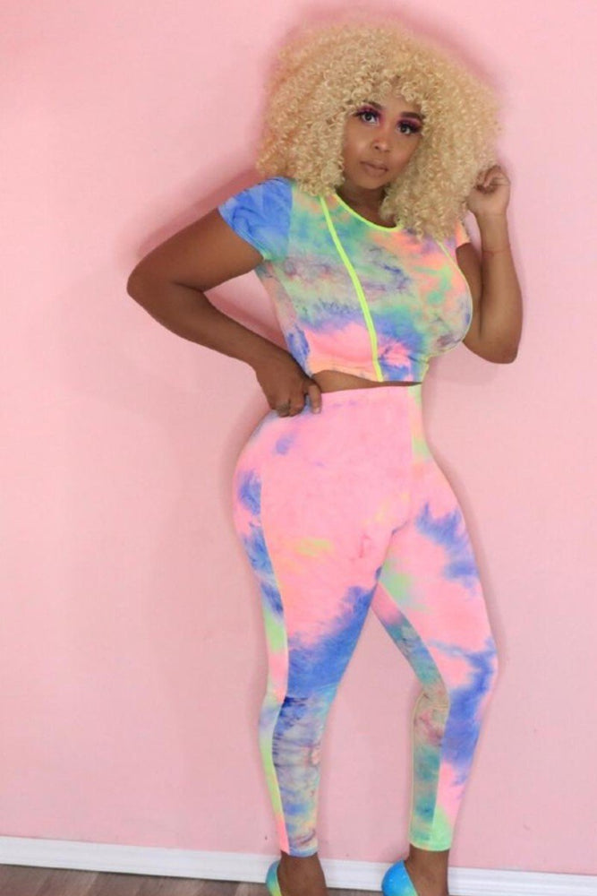 Front Line Unicorn Tie and Dye Crop Top Set