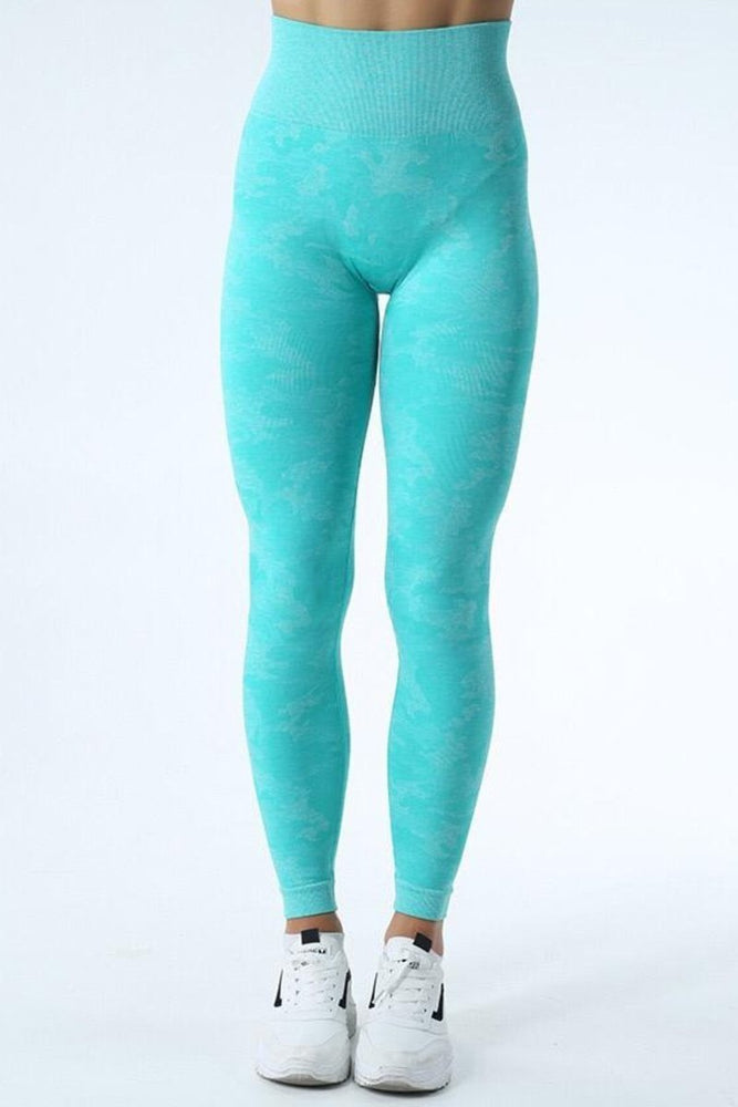 Wholesale Scrunch Butt Turquoise Camo High Waist Yoga Pants Leggings
