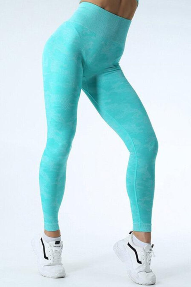 High Waist Scrunch Butt Camo Yoga Pants Leggings S / Turquoise