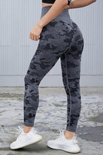 High Waist Scrunch Butt Camo Yoga Pants Leggings S / Grey