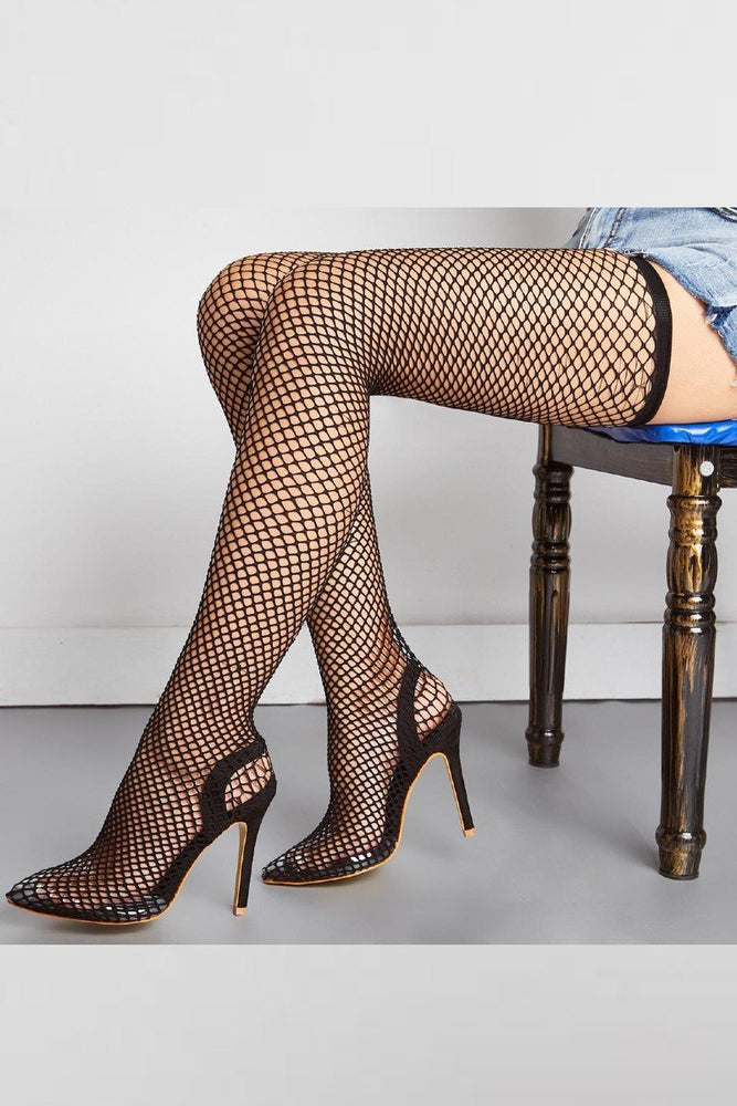 Thigh High Mesh See through heels
