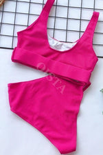 Hot Pink Ribbed Belted Bikini Set Swimwear