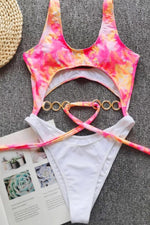 Tie Dye Chain Belt One Piece Siwmsuit