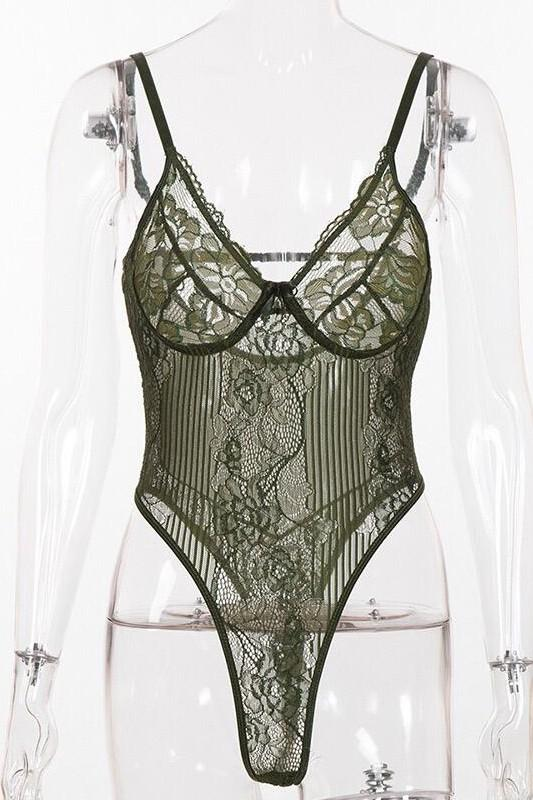 Shoulder Strap Lace Bodysuit Green