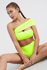 Monostrap Side Cut Two Piece Bikini Set Neon Green Swimwear