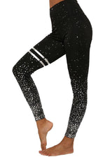 High Waist Metallic Shimmer Detail Yoga Pant Leggings S / Black
