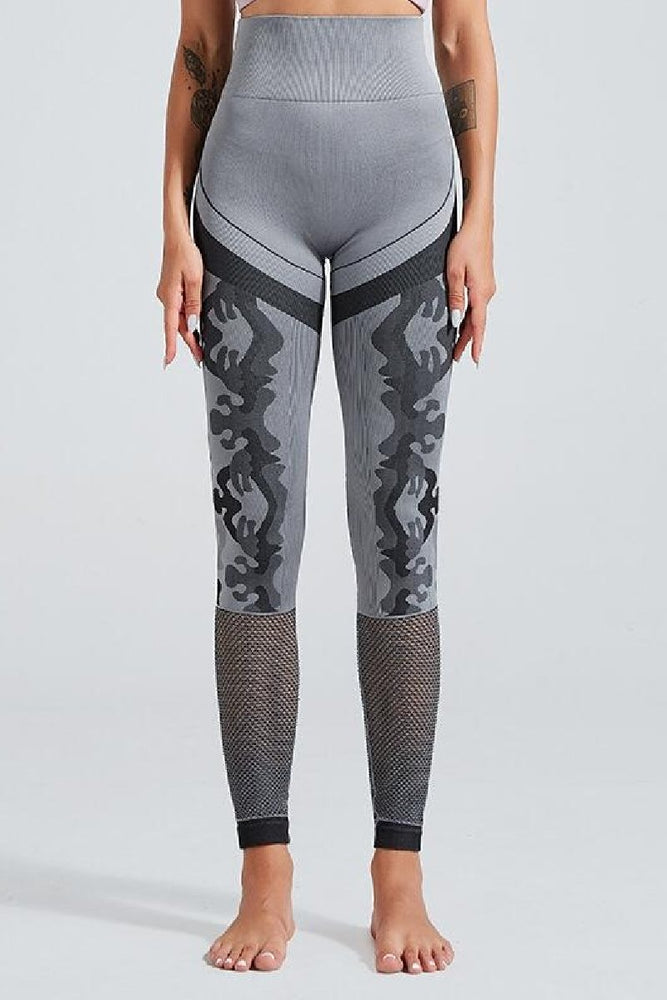 Wholesale Grey High Waist Perforated Camo Designed Yoga Pants Leggings