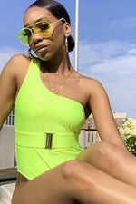 One Shoulder Neon Green Belted One Piece Swimsuit