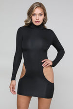 Side Cut-out Long Sleeve Mini Dress