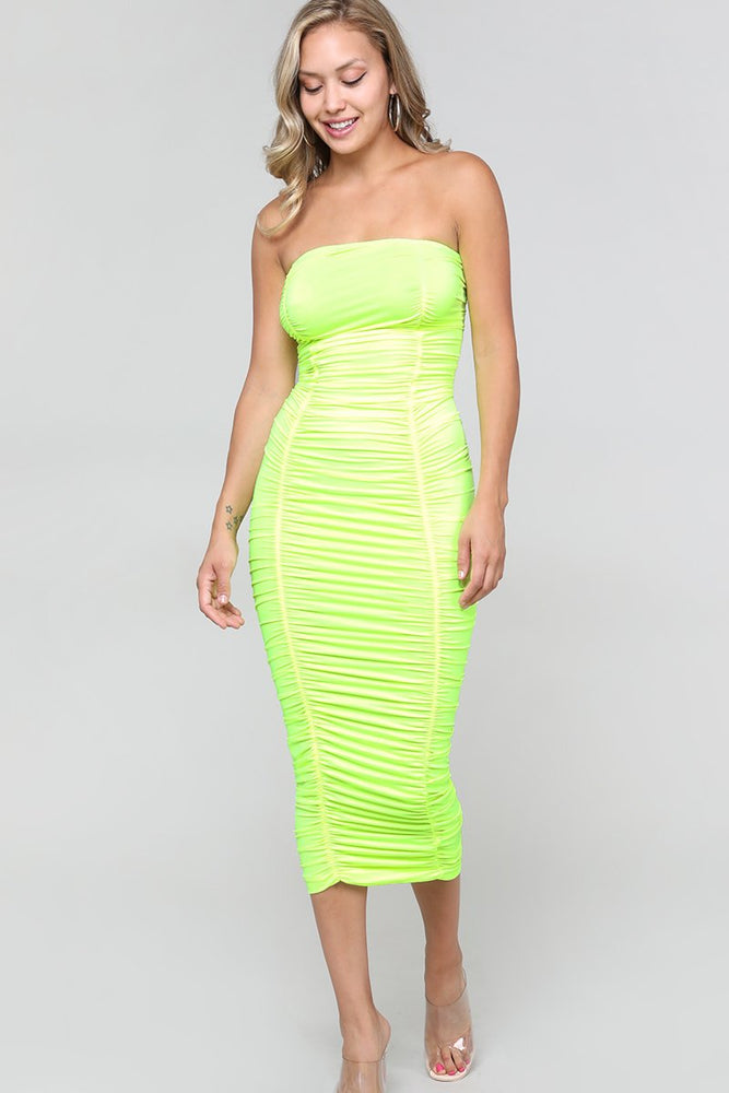 Neon Green Ruched Sleeveless Dress