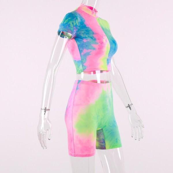 Unicorn Tie and Dye zip biker short zip crop top