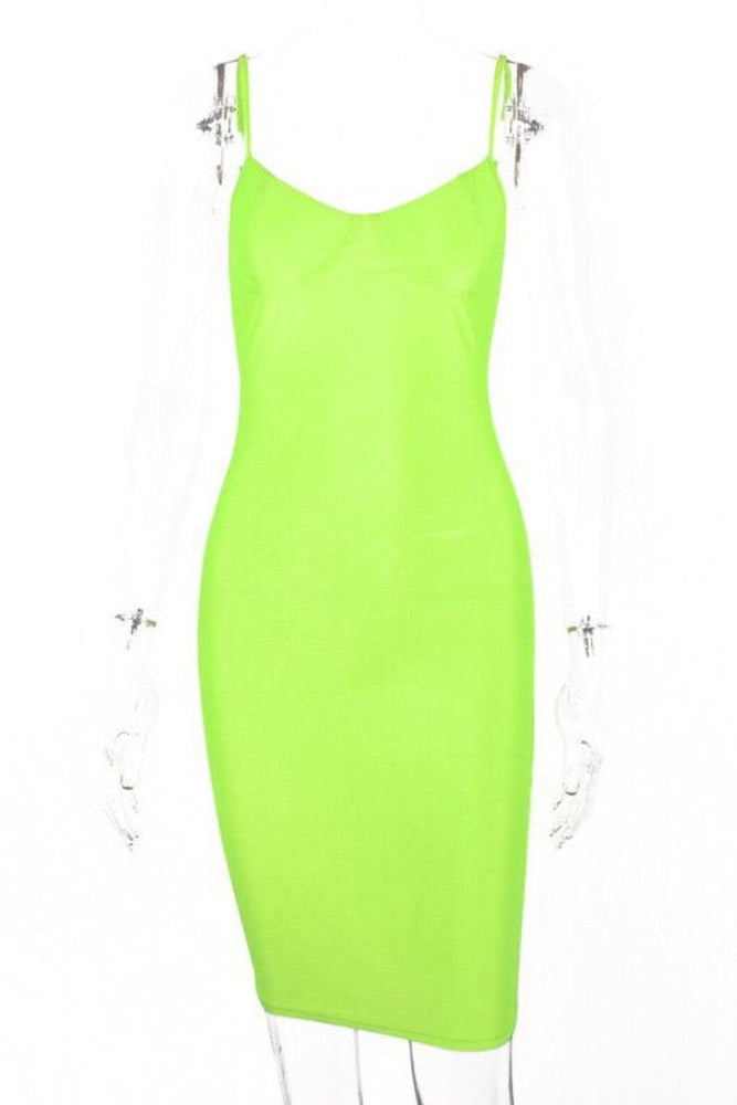 Neon Green  Spaghetti Strap Mini Dress