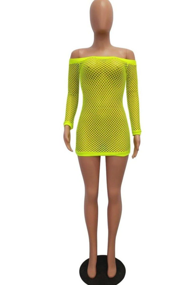 New Stylish Off Shoulder Long Sleeve Mesh Swimsuit Cover Ups