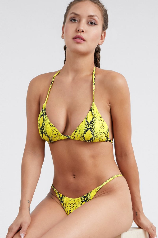 Hot Yellow Python Print Two Piece Bikini Set Swimwear