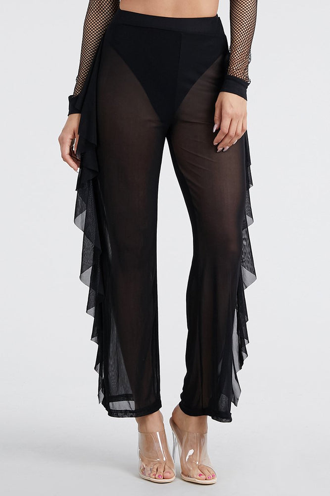 Sheer Ruffle Pants Swimsuit Cover up