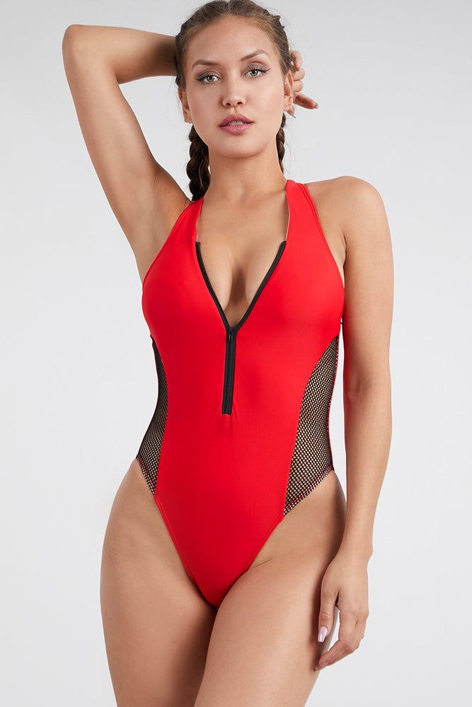 Red One Piece Side Net Swimsuit