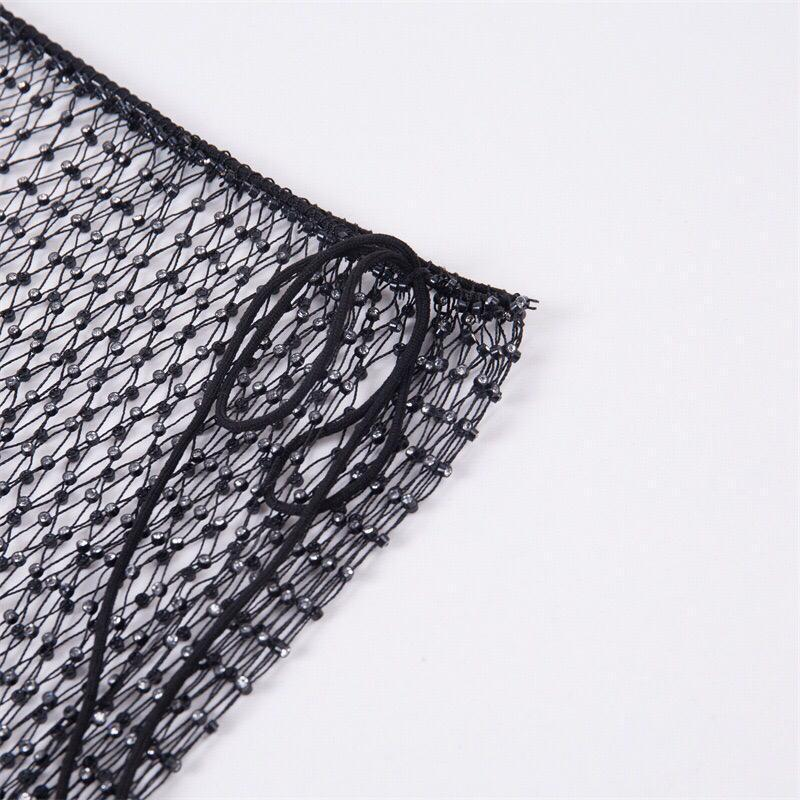 Fish Net Rhinestone Skirt Clothing