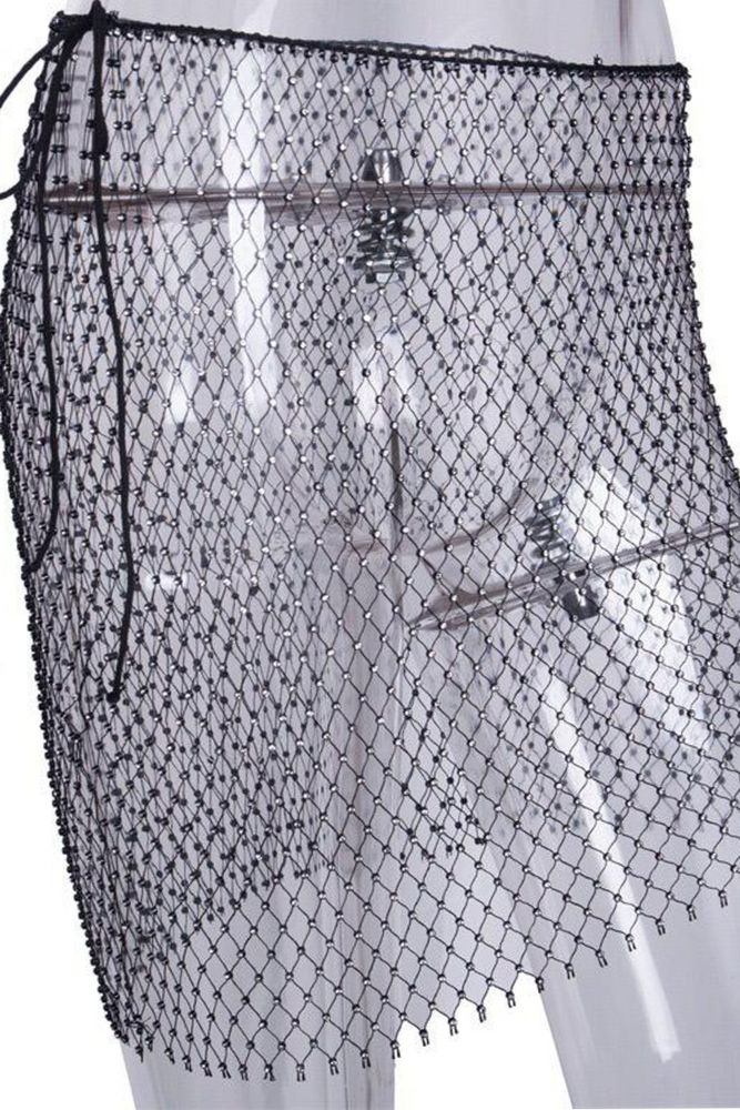 Fish Net Rhinestone Skirt Black / Os Clothing