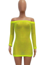 Lime Green Fishnet Dress Swimsuit Cover up