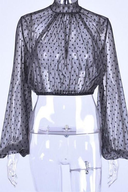 Polka dot high neck puff sleeve mesh top