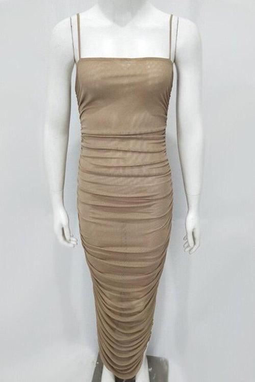 Rushed Spaghetti strap dress Khaki