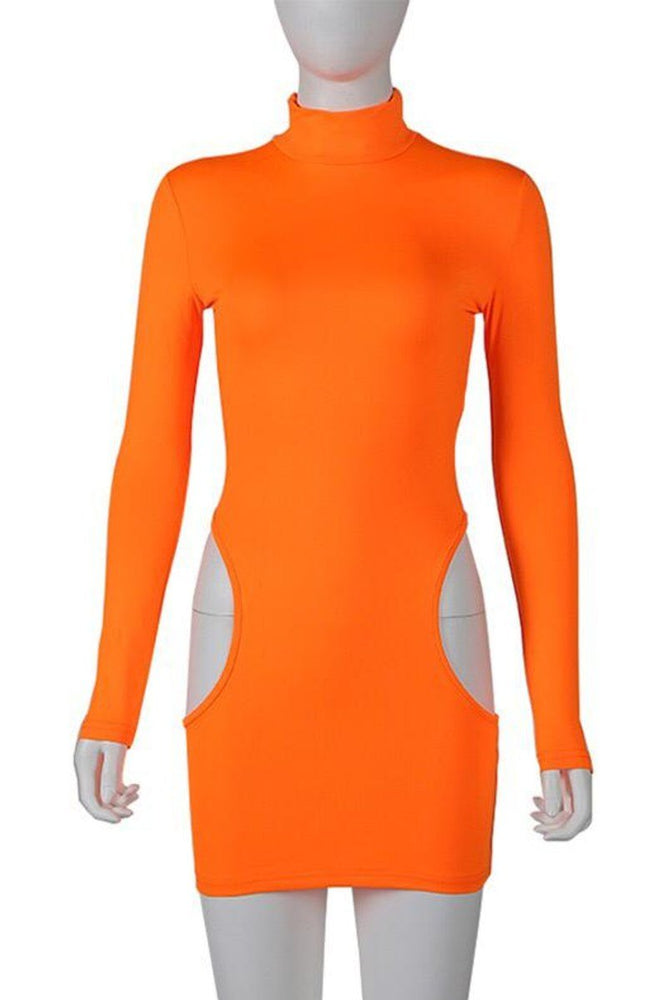 Side Cut-out Long Sleeve Mini Dress Orange