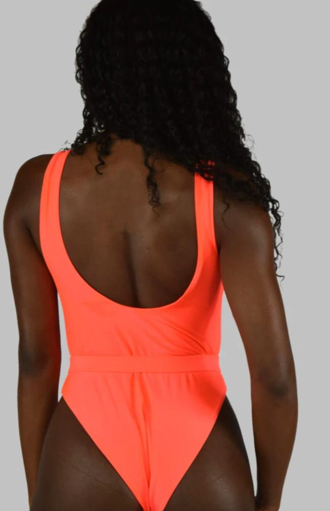 Orange One Piece Belted Swimsuit