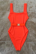 One Piece Belted Swimwear Orange Swimwear