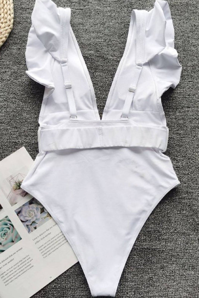 White One Piece Ruffle Belted Swimsuit