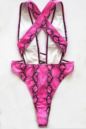 Pink Python Print One Piece Swimsuit Swimwear