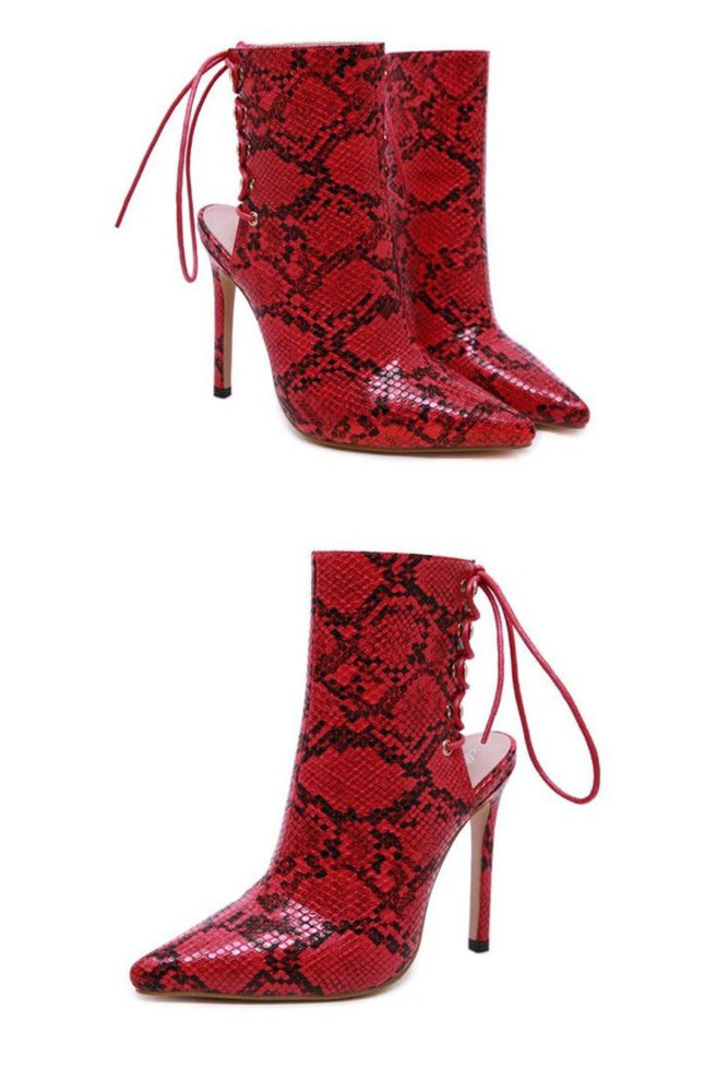 Red Snake Print Lace up Ankle Boots